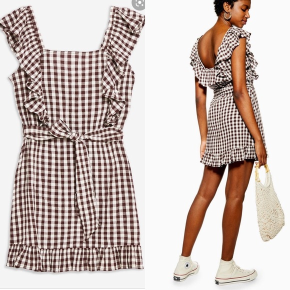 Topshop Dresses & Skirts - Topshop Gingham Ruffle Mini Dress 8